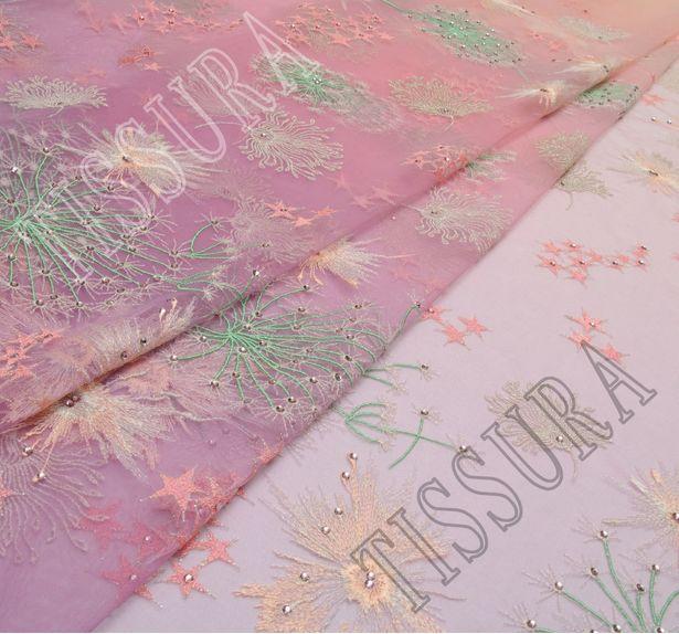 Сетка с вышивкой и кристаллами Swarovski #1
