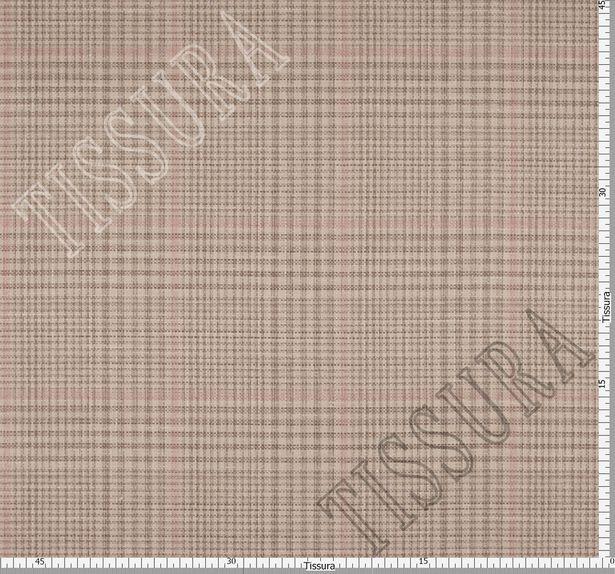 Двусторонняя ткань из шерсти, шелка и льна: розовый и розово-коричневая клетка #3