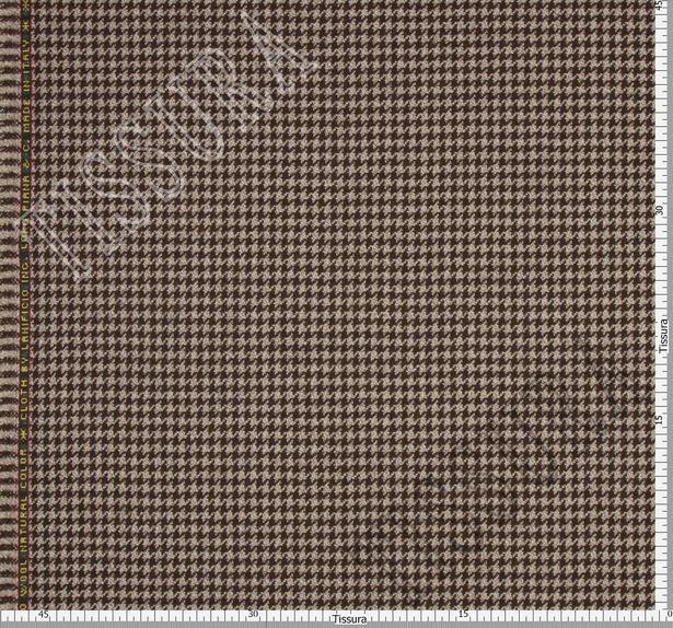 Ткань из шерсти 686043 Pecora Nera® в бежево-коричневую клетку «гусиная лапка» #3