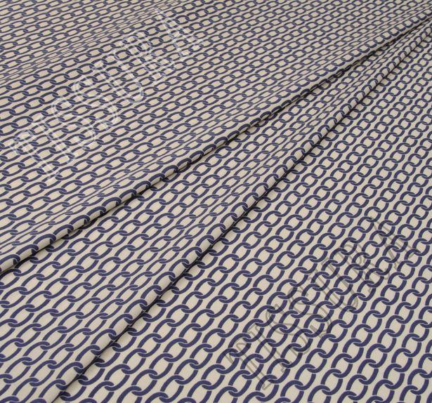 Поплин-стрейч бежевого цвета с крупным принтом в виде темно-синих цепей #1