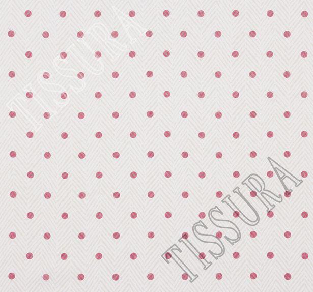 Ткань жоржет из 100% шелка, сочетание горохового принта и елочки на молочно-бежевом фоне: основной цвет принта – красный #3