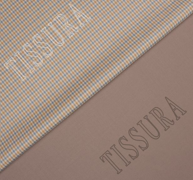 Костюмная ткань двусторонняя с эластаном: мелкая клетка на бежевом фоне и сиренево-серого цвета #1