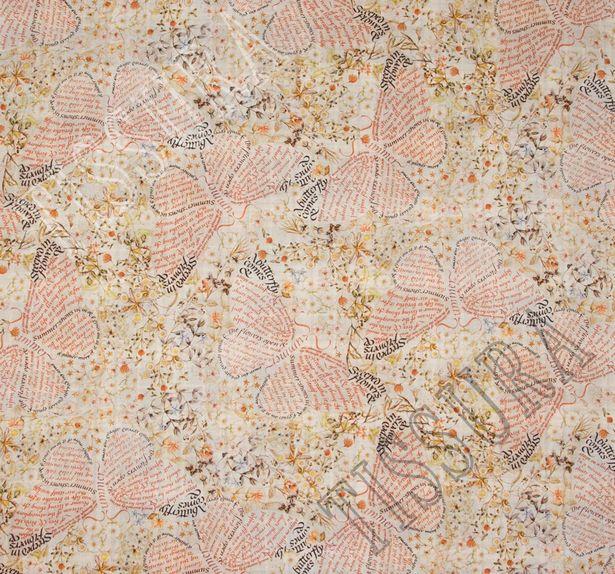 Габардин принтованный двусторонний с эластаном классическая клетка «тартан» и принт в виде бабочек и цветов #3