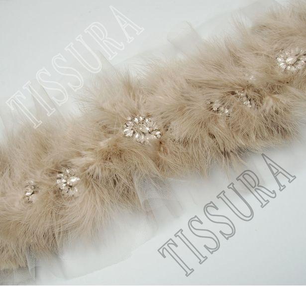Тесьма с перьями и кристаллами #3