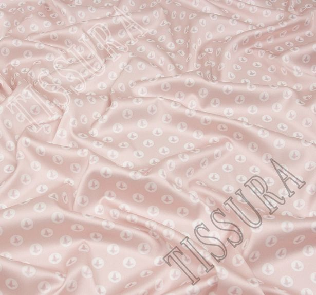 Атлас стрейч с жемчужинами на пудрово-розовом фоне #1
