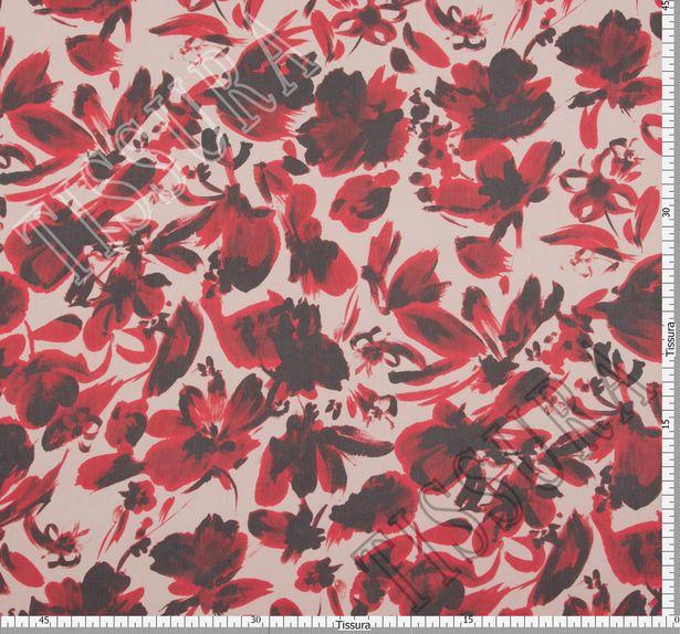 Ткань жоржет из 100% шелка, цветочный принт на молочном фоне: основные цвета узора – красный и черный #2
