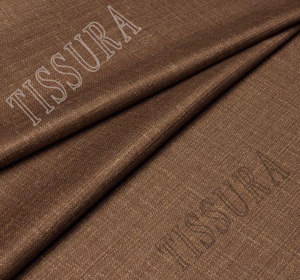 Шерстяная ткань из мериносовой шерсти, шелка и льна: цвет – коричневый #1