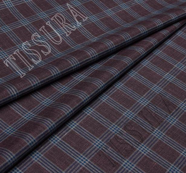 Костюмный твил из шерсти австралийского мериноса с добавлением шелка и льна. Дизайн – бордово-синяя клетка. #1