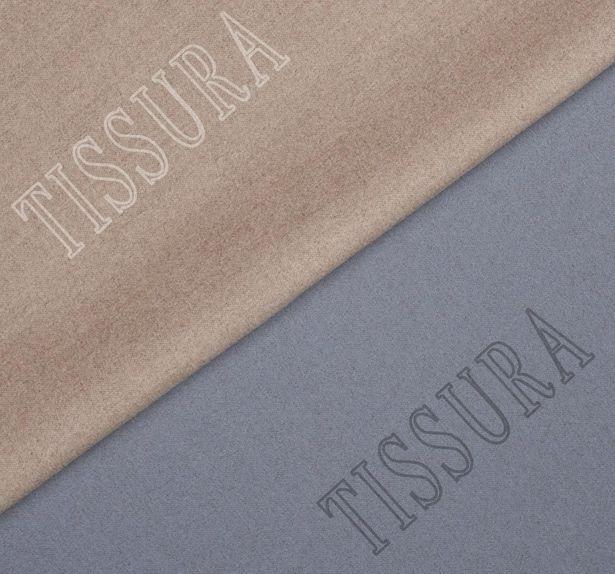 Пальтовая ткань двусторонняя серо-голубого и бежевого цвета #1