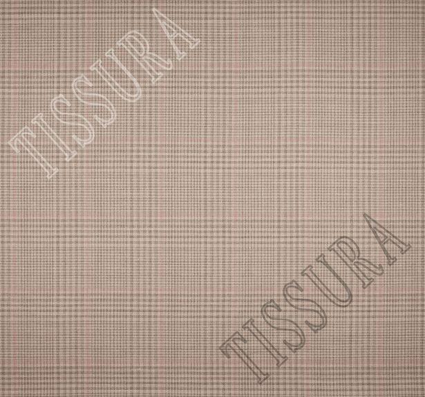 Двусторонняя ткань из шерсти, шелка и льна: розовый и розово-коричневая клетка #2