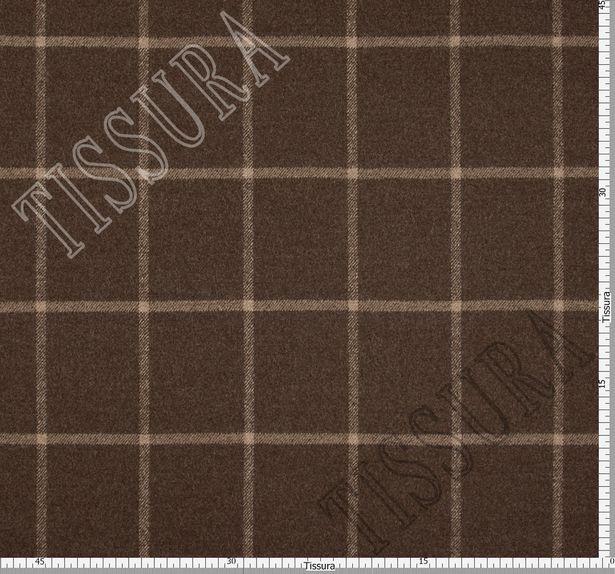 Двусторонняя пальтовая ткань из шерсти Pecora Nera® коричневого и бежевого оттенков #4