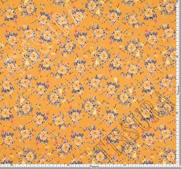 Поплин из 100% хлопка: цветочный рисунок – желтый, синий на горчичном фоне #2