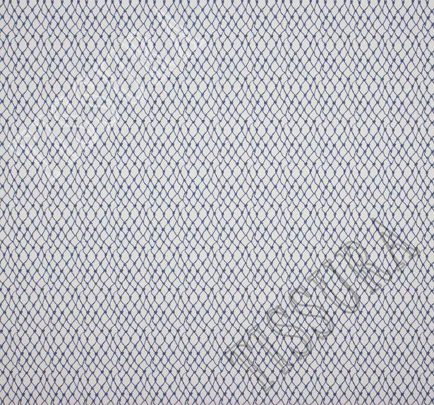 Поплин дизайн – «Морской траулер». На белом фоне сеть из синих морских канатов и узлов #2