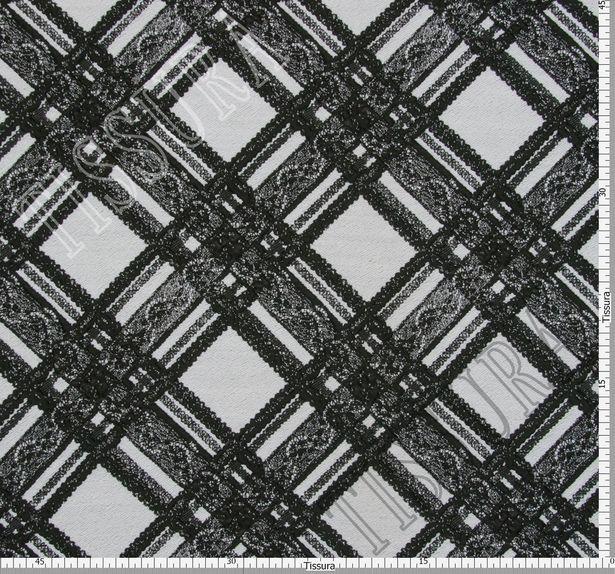 Жаккард черно-белый в клетку с кружевным узором #2