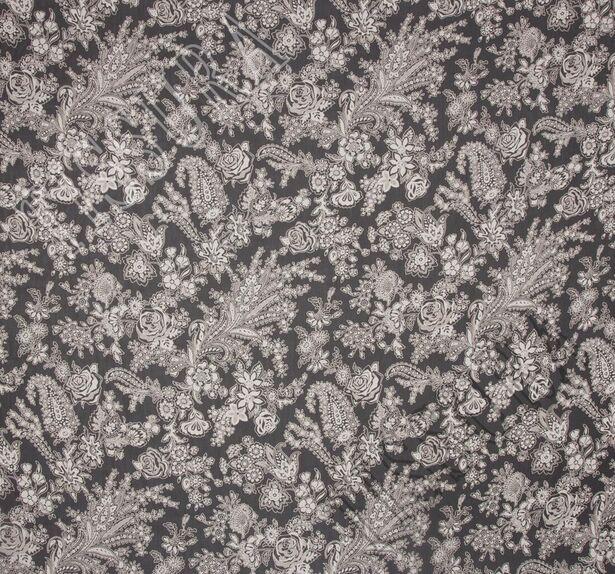 Ткань жоржет из 100% шелка, сочетание растительного принта и пейсли на черном фоне: основные цвета принта – молочный и бежевый #3
