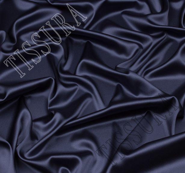 Итальянский атлас стрейч серо-голубого оттенка из шелка с добавлением эластана #1