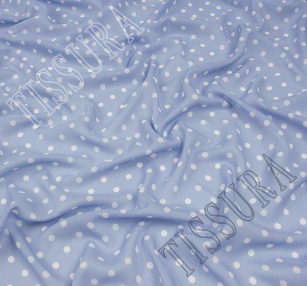 Жоржет из 100% шелка: классический дизайн – белый горошек на светлом серо-голубом фоне #1