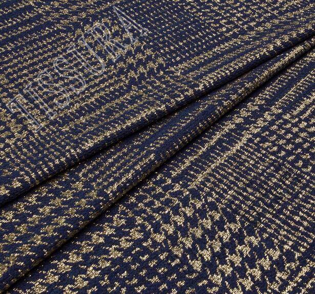 Жаккард-ламе темно-синего оттенка в золотистую клетку #1