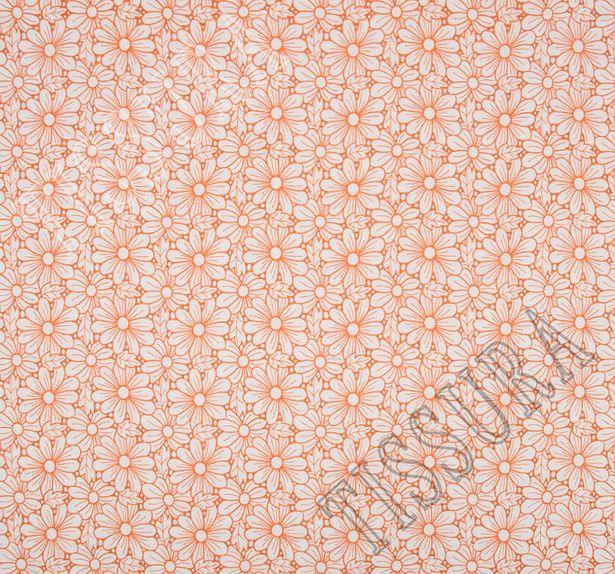 Поплин белого цвета с оранжевой вышивкой в виде ромашек #3