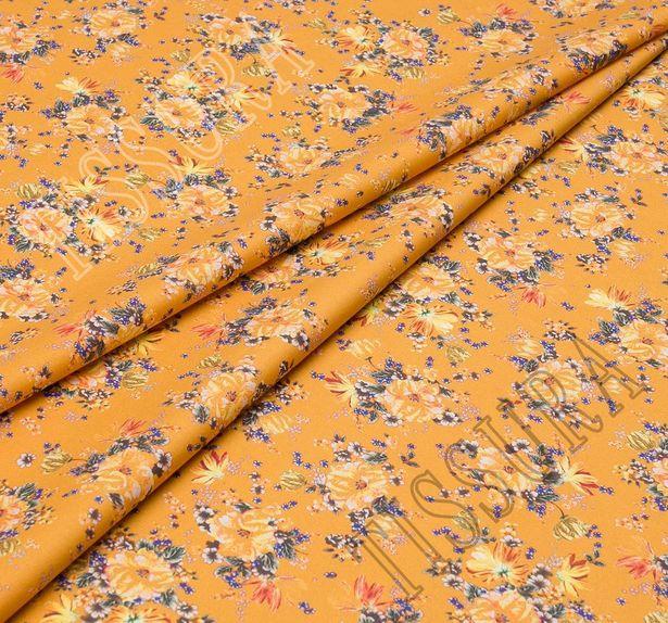 Поплин из 100% хлопка: цветочный рисунок – желтый, синий на горчичном фоне #1