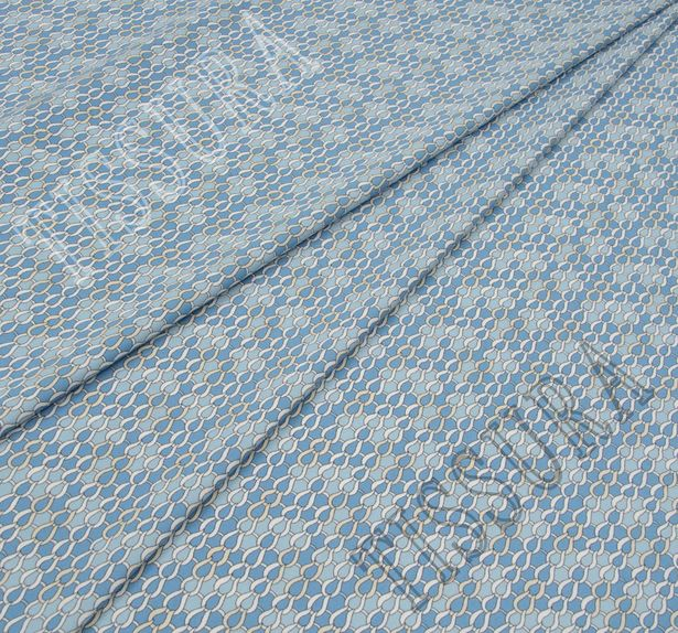 Поплин-стрейч в светло-голубых тонах и стилизован под рыбью чешую #1