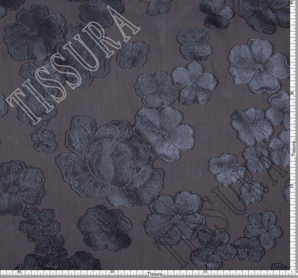 Органза-филькупе с тёмно-серыми цветами на чёрном фоне #2