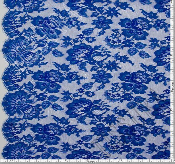 Французское кружево с цветочным дизайном, подчеркнутым кордовой нитью синего цвета #2