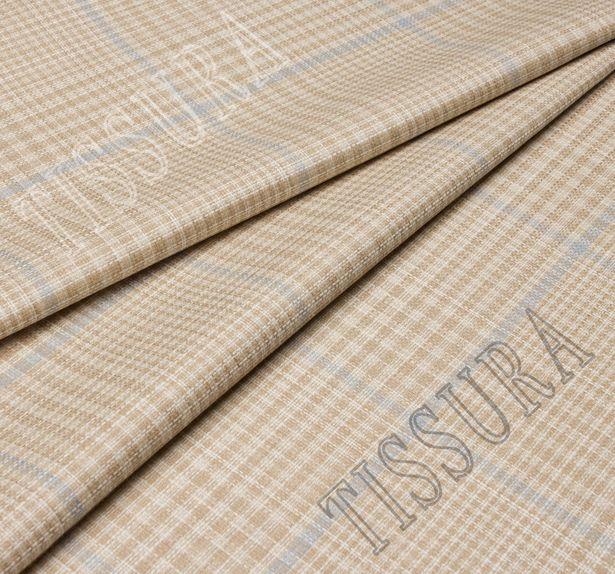 Двусторонняя ткань из шерсти, шелка и льна: песочный и песочно-голубая клетка #4