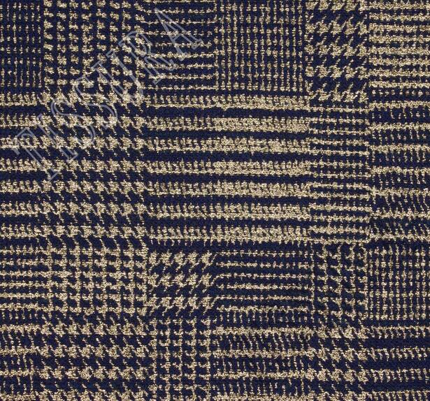 Жаккард-ламе темно-синего оттенка в золотистую клетку #3