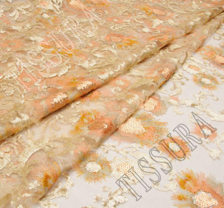 Сетка с вышивкой, декорированная пайетками #1