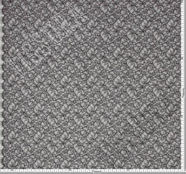 Французское кружево шантильи черного, полупрозрачного цвета с растительным дизайном, край фестонный #2