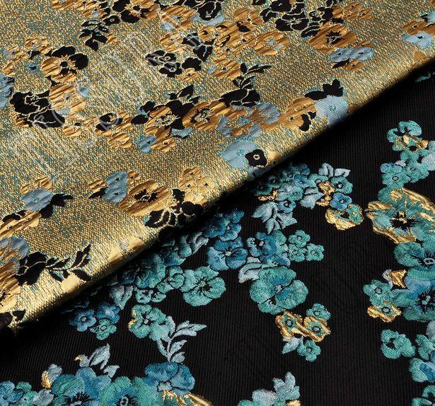 Жаккард с узором в виде ярких голубых цветов #4