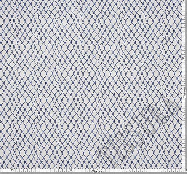 Поплин дизайн – «Морской траулер». На белом фоне сеть из синих морских канатов и узлов #3