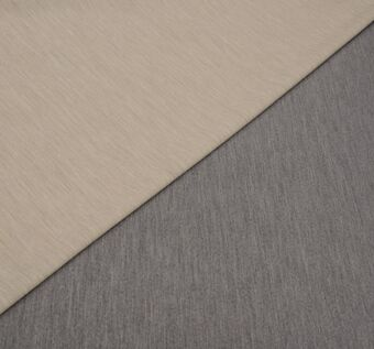 Двусторонний трикотаж на основе шерсти. Одна сторона серого цвета, другая – бежевого. Дизайн – меланж. #1