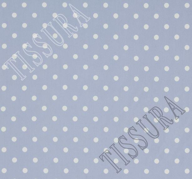 Жоржет из 100% шелка: классический дизайн – белый горошек на светлом серо-голубом фоне #2