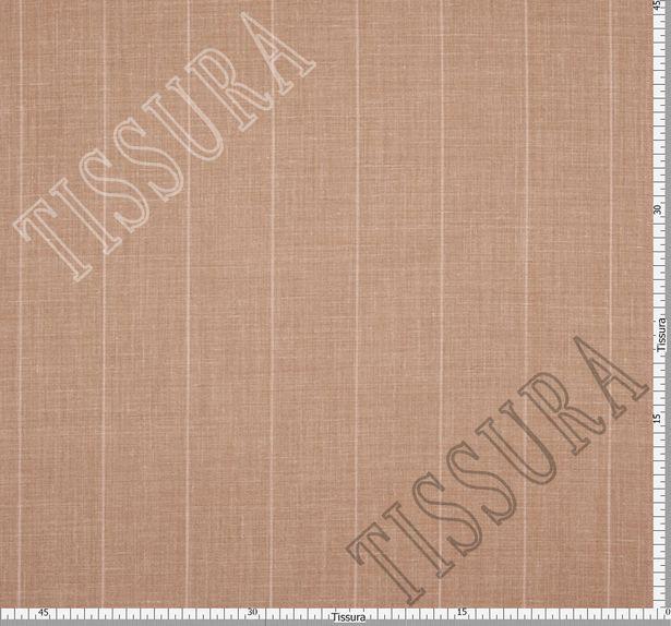 Шерсть двусторонняя из мериносовой шерсти, шелка и льна светло-коричневого цвета в бежевую полоску #3