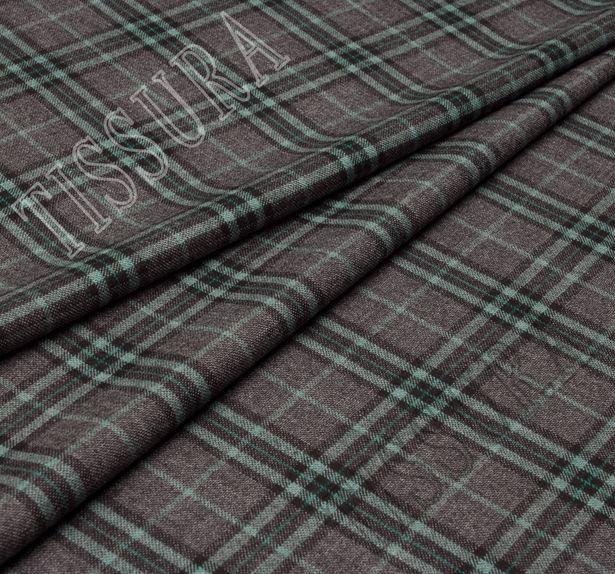 Мягкий и теплый твил из 100% шерсти. Шотландская клетка (тартан) на сером фоне выполнена в светло-зеленом и черном цветах #1