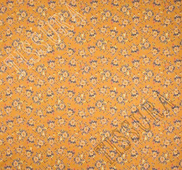 Поплин из 100% хлопка: цветочный рисунок – желтый, синий на горчичном фоне #3