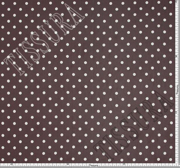 Жоржет из 100% шелка: классический дизайн – белый горошек на темно-бордовом фоне #3