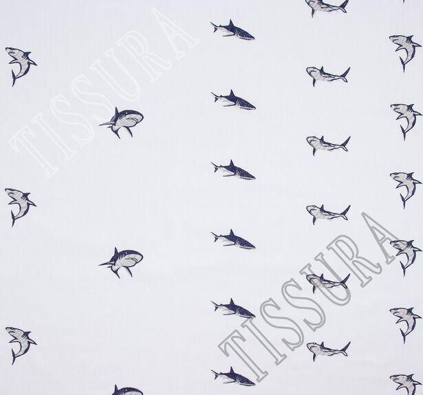 Хлопок белый с вышивкой в виде акул #3