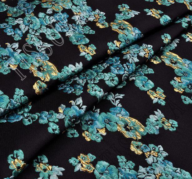 Жаккард с узором в виде ярких голубых цветов #1