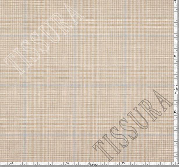 Двусторонняя ткань из шерсти, шелка и льна: песочный и песочно-голубая клетка #3