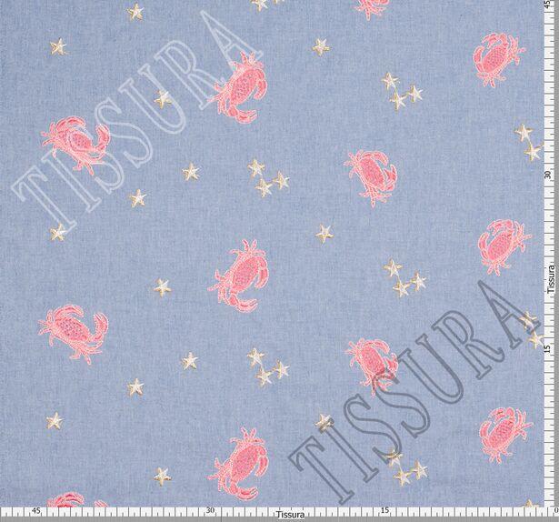 Хлопок голубой с вышивкой в виде крабов и звёзд #2