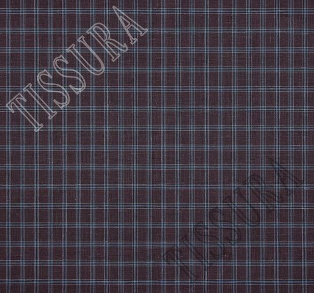 Костюмный твил из шерсти австралийского мериноса с добавлением шелка и льна. Дизайн – бордово-синяя клетка. #2
