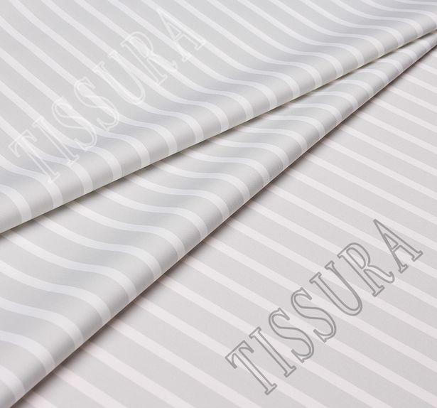 Сатин из хлопка с добавлением эластана, украшенная белыми и серыми полосами #1