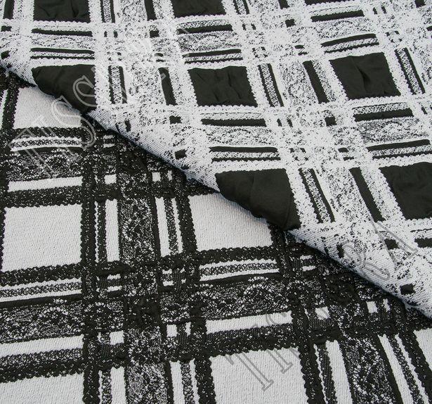 Жаккард черно-белый в клетку с кружевным узором #3