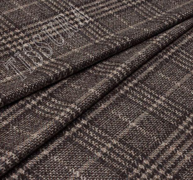 Пальтовая ткань шерстяная в бежево-коричневую клетку «Принц Уэльский» #1