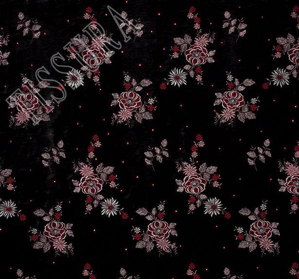 Бархат с вышивкой и кристаллами Swarovski #3