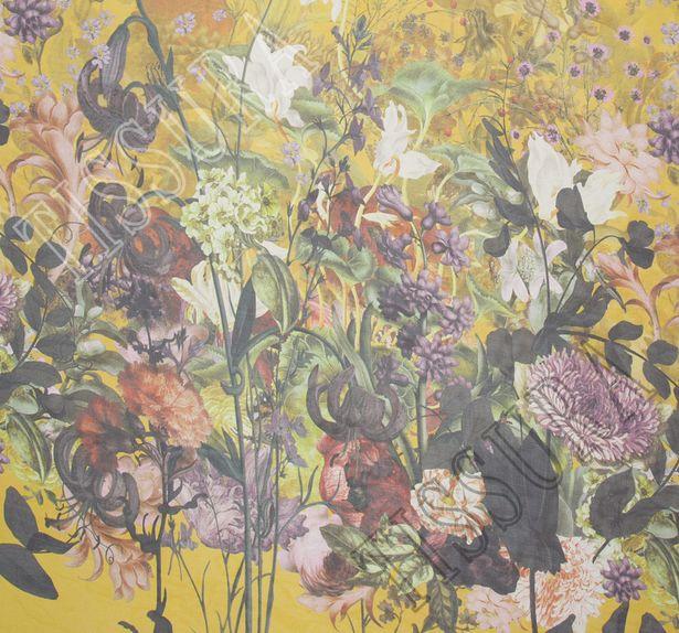 Шифон шелковый с цветочным рисунком на горчичном фоне #1
