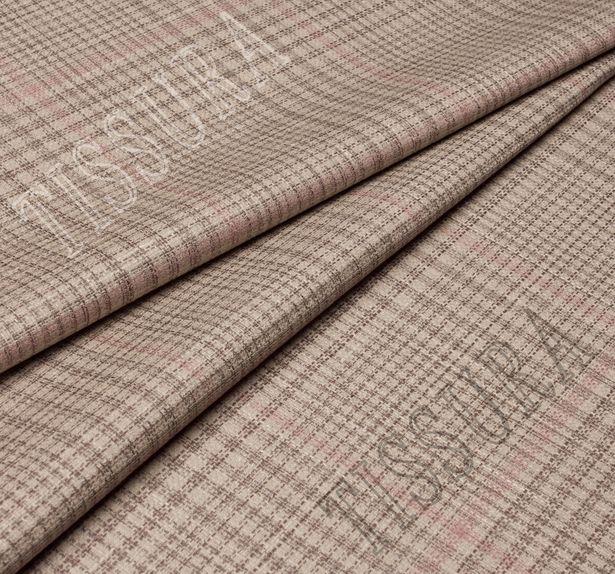 Двусторонняя ткань из шерсти, шелка и льна: розовый и розово-коричневая клетка #4